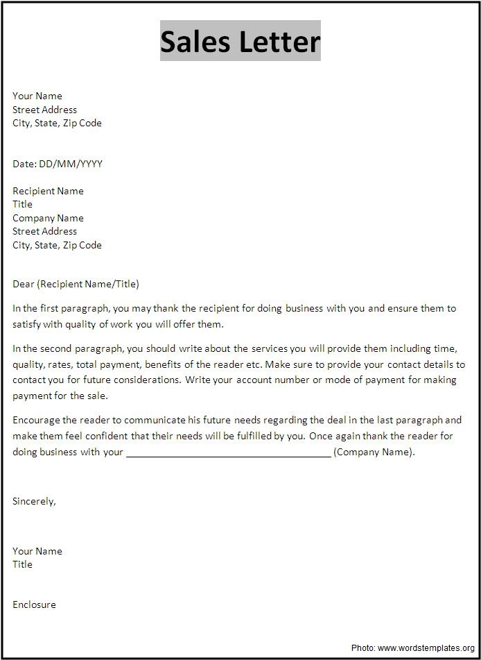 Sample sales letter